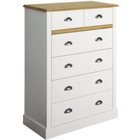 Marina Wooden Chest Of Drawers In White Pine With 6 Drawers