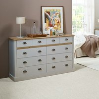 Marina Wooden Chest Of Drawers In Grey Pine With 10 Drawers