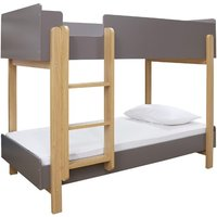 Product photograph showing Marisol Wooden Bunk Bed In Matt Grey And Oak