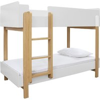 Product photograph showing Marisol Wooden Bunk Bed In Matt White And Oak