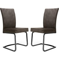 Product photograph showing Marlin Cantilever Brown Velvet Dining Chairs In Pair