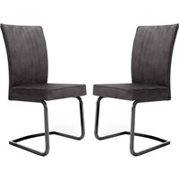 Product photograph showing Marlin Cantilever Grey Velvet Dining Chairs In Pair