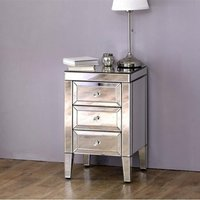 Marnie Mirrored Bedside Cabinet With 3 Drawers
