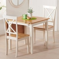 Product photograph showing Maro Extending Oak And Cream Dining Table With 2 Chertan Chairs