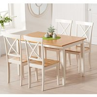 Maro Extending Oak And Cream Dining Table With 4 Chertan Chairs