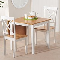 Product photograph showing Maro Extending Oak And White Dining Table With 2 Chertan Chairs