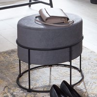 Product photograph showing Marostica Round Fabric Stool In Grey With Black Legs