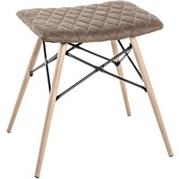 Product photograph showing Marostica Synthetic Leather Stool In Brown With Beech Legs