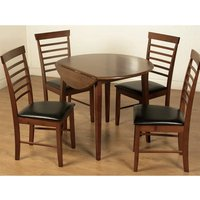 Marsic Round Drop Leaf Dining Set In Dark With 4 Chairs