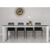 Marten Extendable Dining Table In Glass Ceramic And 6 Chairs