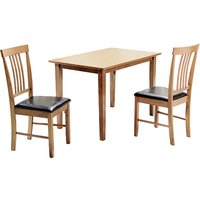 Product photograph showing Massa Small Dining Set In Oak With 2 Chairs