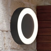 Product photograph showing Matar Outdoor Frosted Diffuser Led Circle Wall Light In Black