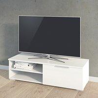 Matcher High Gloss 1 Drawer 2 Shelves TV Stand In White