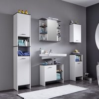 Matis Modern Bathroom Set In White And Smoky Silver With LED