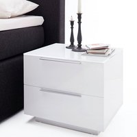 Fresh Bedside Cabinet In White Glass Top And High Gloss