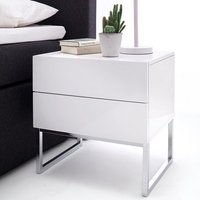 Strada Bedside Cabinet In White High Gloss With 2 Drawers