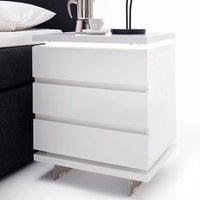 Matis Bedside Cabinet In White Gloss With 3 Drawers And LED