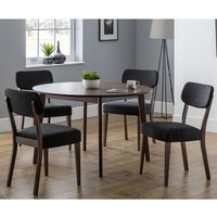 Matteson Round Dining Table In Walnut With 4 Dining Chairs