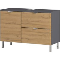 Mauresa Wide Basin Vanity Unit In Graphite And Grandson Oak