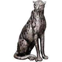 Product photograph showing Maverick Metal Cheetah Figurine Sculpture In Antique Silver