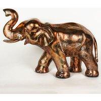 Product photograph showing Maverick Metal Elephant Figurine Sculpture In Antique Bronze