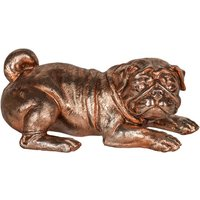 Product photograph showing Maverick Metal Pug Figurine Sculpture In Antique Bronze
