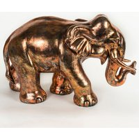 Product photograph showing Maverick Metal Small Elephant Figurine Sculpture In Antique Bronze