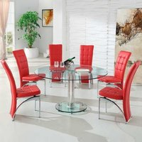 Maxi Round Dining Set In Clear Glass And 6 Ravenna Red Chairs