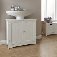 image-Maxima Wooden Vanity Unit In White With 2 Doors