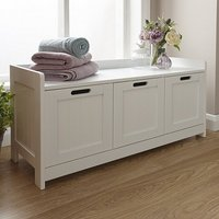Maxima Wooden Storage Bench In White With 3 Doors