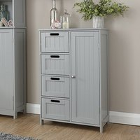 Product photograph showing Maxima Wooden Bathroom Storage Unit In Grey With 1 Door