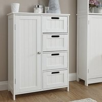 Product photograph showing Maxima Wooden Bathroom Storage Unit In White With 1 Door