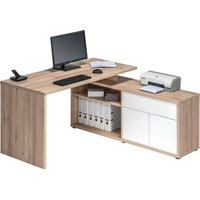 Product photograph showing Maximus Wooden Computer Desk In Natural Beech With Low Cabinet