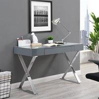 Mayline Laptop Office Computer Desk In High Gloss Grey