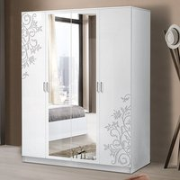 Product photograph showing Mayon Mirrored 4 Doors Wardrobe In Flower Pattern White Gloss