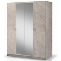 Product photograph showing Mayon Mirrored Wooden 4 Doors Wardrobe In Grey Marble Effect