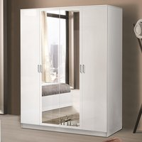 Product photograph showing Mayon Mirrored Wooden 4 Doors Wardrobe In White High Gloss