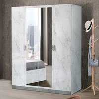 Product photograph showing Mayon Mirrored Wooden 4 Doors Wardrobe In White Marble Effect