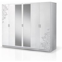 Product photograph showing Mayon Mirrored 6 Doors Wardrobe In Flower Pattern White Gloss
