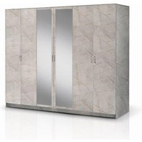 Product photograph showing Mayon Mirrored Wooden 6 Doors Wardrobe In Grey Marble Effect