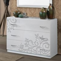 Product photograph showing Mayon Wooden Chest Of Drawers In Flower Pattern White Gloss