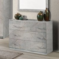 Product photograph showing Mayon Wooden Chest Of Drawers In Grey Marble Effect