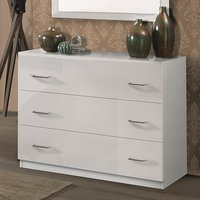 Product photograph showing Mayon Wooden Chest Of Drawers In White High Gloss