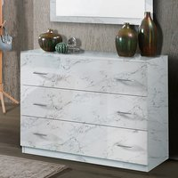 Product photograph showing Mayon Wooden Chest Of Drawers In White Marble Effect