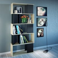 Product photograph showing Mazika Wooden 4 Shelves Open Bookcase In Oak And Black
