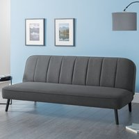 Product photograph showing Mckees Curved Back Linen Upholstered Sofabed In Grey