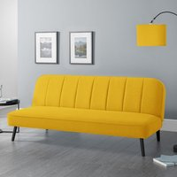 Product photograph showing Mckees Curved Back Linen Upholstered Sofabed In Mustard