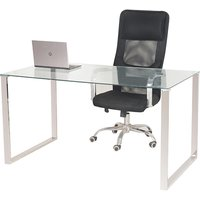 Product photograph showing Megan Clear Glass Computer Desk With Chrome Legs