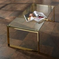 Product photograph showing Megan Clear Glass Rectangular Coffee Table With Gold Legs