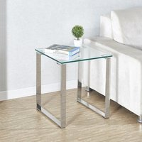 Product photograph showing Megan Clear Glass Side Lamp Table With Chrome Legs